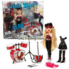 MGA Entertainment Bratz Girlz Really Rock Series 10 Inch Doll Set - Rock Star CLOE with 2 Sets of Outfits, Hat, 2 Boots, Pop Guitar and Drum Set