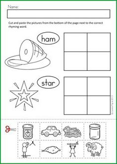 math worksheet : free rhyming cut and paste worksheet phonological awareness  : Cut And Paste Worksheets For Kindergarten Free