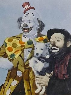 """James Stewart as """"Buttons"""" the clown along with Emmett Kelly portraying himself in """"The Greatest show on Earth"""""""