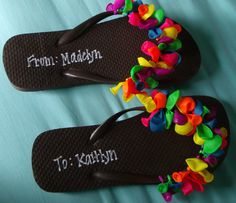 Just made these for Madelyn's pool party. So easy and every little girl loves flip flops & balloons!