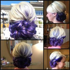 Formal Updo, Purple and Blonde hair