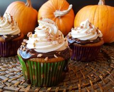 Cooking Classy: Pumpkin Cupcakes with Chocolate Ganache and Spiced Cream Cheese Frosting - my favorite Fall cupcake