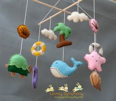 The sea baby mobile Ahoy hanging mobile Ocean by LovelySymphony, $85.00