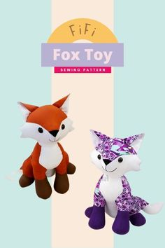 Fifi Fox Toy sewing pattern. This foxy little lady loves prancing around in the sunshine! Fifi looks gorgeous in all sorts of fabric so there really is no need to stick with the traditional color fox if you fancy something a bit more snazzy! When you finish making your own divine-looking Fifi she will measure approximately 31cm (12 inches) tall - from the table to the tips of her ears! Animal Sewing Patterns, Sewing Patterns For Kids, Dress Sewing Patterns, Sewing For Kids, Sewing Patterns Free, Sewing Toys, Baby Sewing, Teddy Bear Sewing Pattern, Fox Toys