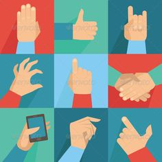 Vector Set of Hands and Gestures in Flat Style