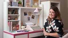 Catherine Ryan Howard at the desk in her tiny apartment off Leeson Street. Photograph: Eoin Rafferty