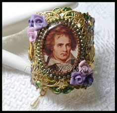 #429--Finished Up Friday #3 . Beethoven--a favorite composer. Hand-painted B'sue filigree. by Cherie T. Barnes