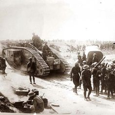 WWI Army tank and soldiers ca 1918