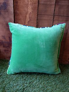 Emerald Green Velvet Cushion piped all around with ANY of our beautiful striped fabrics. Velvet Cushions, Cotton Velvet, Striped Fabrics, Green Velvet, Emerald Green, Throw Pillows, Random, Beautiful, Color