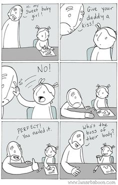 Lol good because it's feminist, bad because it condones violence.still hilarious. Parenting Done Right, Parenting Fail, Parenting Quotes, Smart Boards, 4 Panel Life, Education Positive, Music Education, Health Education, Physical Education