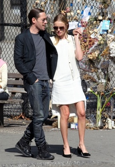 Kate Bosworth visits the 9/11 Memorial with her fiancee Michael Polish and her parents in New York City.