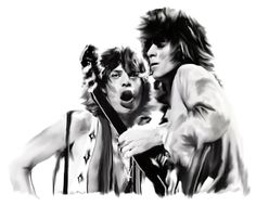 "The Rolling Stones Painting - ""Exile II"" Mick Jagger And Keith Richards by Iconic Images Art Gallery David Pucciarelli. Charlie Watts, Keith Richards, Mick Jagger, Billy Preston, John Mayall, Led Zeppelin, Stone Painting, Rolling Stones, Great Artists"