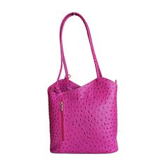 Multi-Way Fuschia Pink Ostrich Leather Shoulder Bag/Backpack - £49.99