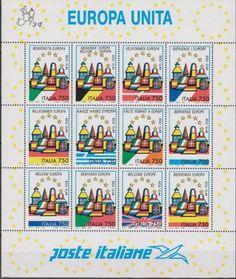 1993 ITALIA REPUBBLICA 1993 Europa unita - BLOCCO FOGLIETTO 12 Francobolli MNH**