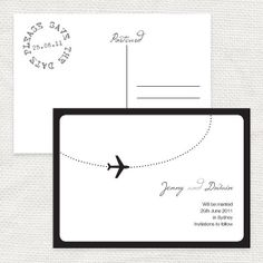 "come fly with me airplane save the date  by idoityourself on...love the save the date ""stamp"""
