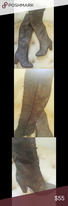 """Distressed brown lace up over the knee boots Distressed faux brown leather lace-up over the knee boots. Never worn, perfect condition - only tried on. 22"""" length, 3"""" stacked heel. Size 9 but will fit 8.5 or 9. Adjustable laces to fit wider calves. Shoes Over the Knee Boots"""