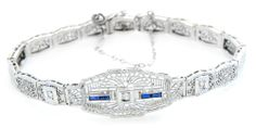 Antique Deco 14k White Gold Sapphire & Sim Diamond Fine Filigree Link Bracelet