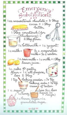 Cooking 101, Cooking Recipes, Kitchen Measurements, Food Substitutions, Food Charts, Kitchen Helper, Kitchen Cheat Sheets, Baking Tips, Baking Hacks