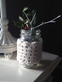 Crochet mason jar cozy, pattern from Webs yarn website