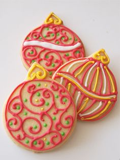 Buy cookie cutters in different ornament shapes and decorate away.