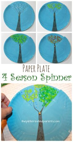 Plate Four Season Spinner Paper plate four season spinner. Winter, spring, summer and fall trees. arts and crafts for kids.Paper plate four season spinner. Winter, spring, summer and fall trees. arts and crafts for kids.