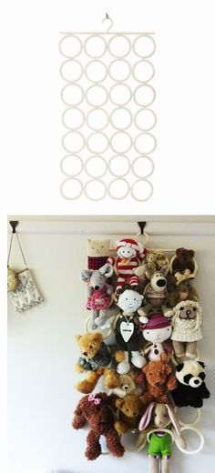Cute way to display stuffed toys in a kids' room! Display from IKEA. - this could be super cute in either of the kid's rooms! You can get this product at Ikea! Soft Toy Storage, Toy Storage Solutions, Scarf Storage, Cuddly Toy Storage Ideas, Diy Storage, Storage Hacks, Storing Stuffed Animals, Stuffed Animal Storage, Stuffed Toys
