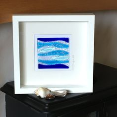 Handmade Fused Glass Picture, Sea Theme, Waves, Blue Glass, Wall Art, Gift by WarmGlassFusion on Etsy