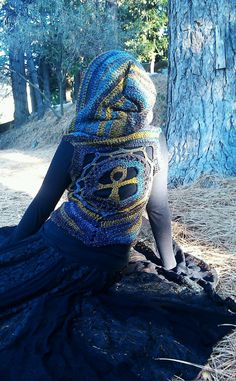 Ankh Hooded Pixie VestOOAKReady To by TheWildEarthChilde on Etsy, $145.00