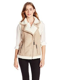 Design History Women's Shearling Vest, Natural, Small