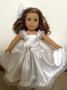 American Girl 18-inch Doll Clothes - White Satin Gown & Hair Bow