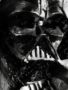 "Darth Vader Print 24"" x 18"" Copy of Original Acrylic Painting Poster Star Wars Fantasy Wall Decor Art Comic Art Villain"
