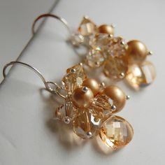 Champagne Bridal Earrings Swarovski Crystal and by GreenRibbonGems, $52.00