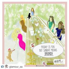 "FASHCOM on Instagram: ""New comic for @glamoursa  ❤❤ • There's nothing better than brunch with your BFFs! What do you have planned for this weekend? Comic by @fashcomofficial #illustration #TGIF #comic #fashioncomic #weekend #brunch #sunday #friday #happiness #friends #bffe"""