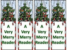"""Free! Here are two pages of bookmarks for Christmas. One page is color and the other is black and white.  It can be used to motivate reading with the words """"A Very Merry Reader."""" The clip art is appropriate for a wide range of groups.  Please leave feedback!"""