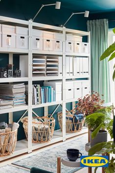 Maximize office organization with boxes, shelves and baskets. Box Shelves, Basket Shelves, Shelving, Baskets, Living Room Decor, Living Spaces, Bedroom Decor, Ikea Home, Garage Shelf