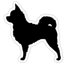 Long Haired Chihuahua Silhouette Sticker