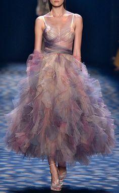 Marchesa Ruffled Cocktail Dress