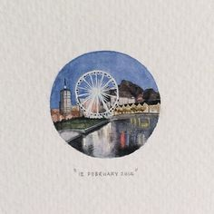 Day 43 : The Cape Wheel was designed and developed by Ronald Bussink and is a Wheel of Excellence. 29 x 29 mm. #365postcardsforants #miniature #watercolor #capewheel #wheelofexcellence #capetown (at...