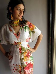 a8ad4ff09a White Floral front button caftan perfect as getting ready