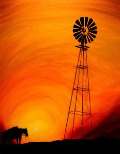 Sunset Painting - Sunset Fine Art Print aww work horses after a long day Horse Canvas Painting, Painting & Drawing, Canvas Art, Shadow Painting, Tole Painting, Silhouette Painting, Pictures To Paint, Windmill, Painting Inspiration