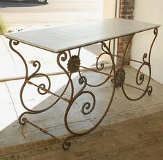 Country French Iron And Brass Pastry Table With Marble Top   Country French,  Marble Top And Marbles
