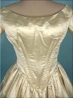 bust pads in an 1840s wedding dress