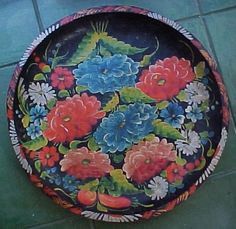Vtg Hand Painted Carved Toleware Wood Bowl Tray Mexican Batea Flowers F | eBay