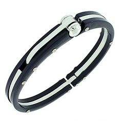 """Fashion Alloy Dark Navy Blue Silver-Tone Handcuff Mens Bracelet with Clasp. """"Navy Steel Handcuff"""" by My Daily Styles. Material: Alloy, Plastic. Length: Approx. 8.00in. Width: 0.50in. Origin: Imported."""