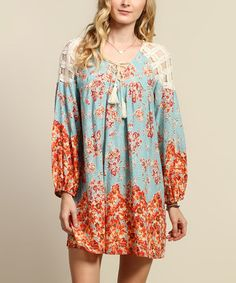 Loving this Aqua & Red Floral Lace-Panel Shift Dress on #zulily! #zulilyfinds