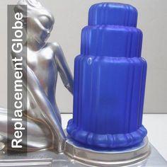 Frankart art deco lamp tiered replacement lamp globe in cobalt blue