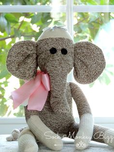 Sock Monkey Elephant Doll Sock Elephant by SockMonkeyBizz on Etsy