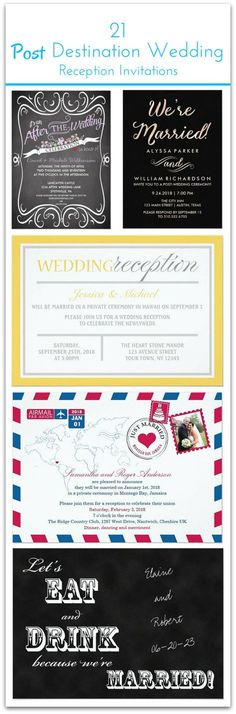 21 gorgeous styles and fun wording for the at-home reception invitation after your destination wedding! There's all kinds of styles like modern, rustic, vintage, classic and more. Great resource for anyone who's planning a destination wedding and second wedding celebration at home.