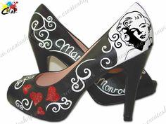 Personalización de Zapato Md. Marilyn Monroe 01. Pintado a mano por CREATE http://goo.gl/vkobg7  Amplia gama de colores y numeración.