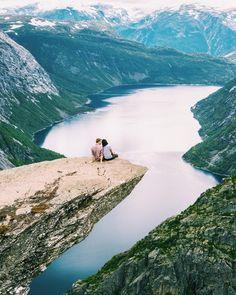 Beautiful honeymoon destination inspiration -Trolltunga, Orda, Norway! {Instagram: theweddingscoop}